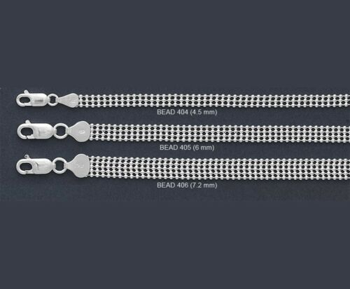 """ITALY 925 Sterling Silver BEAD Chain NECKLACE//BRACELET-Multi Layered Ball-7/""""~24/"""""""
