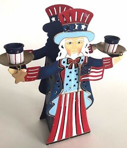 Americana-Colored-Metal-2-candlestick-1-tea-light-holder-Figure-Unique-2-sided