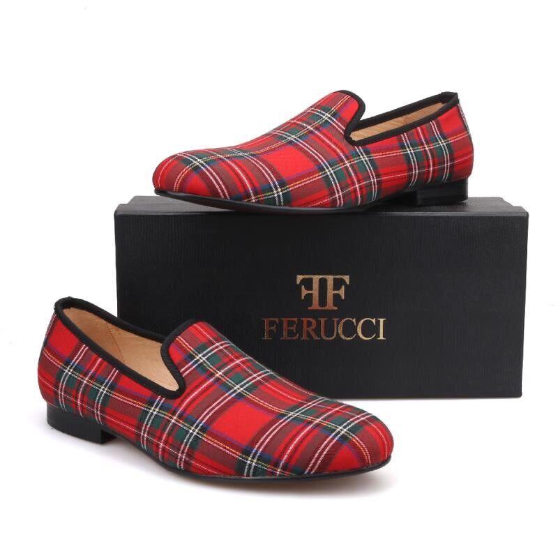 FERUCCI escocés de tela rojas personalizado hecho Mocasines Zapatillas de terciopelo