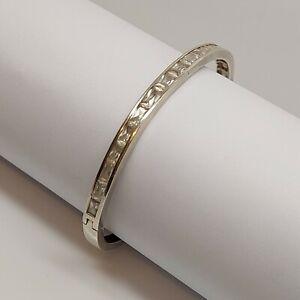 Solid-sterling-silver-925-bangle-bracelet-clear-gemstones-7-inch-hinged-O20