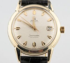 Vintage-Omega-Men-039-s-Seamaster-Calendar-Automatic-14k-Gold-Filled-Watch-w-Date