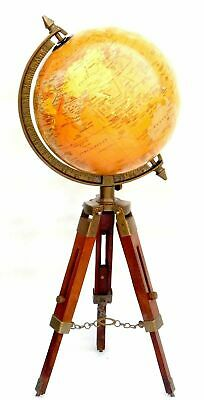 "11/"" Antique Brass World Map Desk Globe With Wooden Compass Base Nautical Decor"