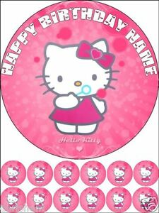 Excellent Edible Round 7 5 Hello Kitty Birthday Cake Topper And 12 Cupcakes Funny Birthday Cards Online Alyptdamsfinfo