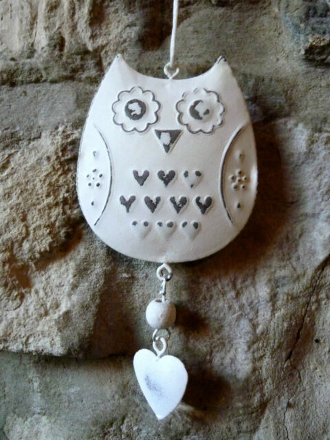 Vintage style hanging owl decoration with heart / shabby chic owl decoration