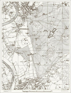 Map Of North London.Details About Petersham Norbiton North Map 1888 Gtr London 34 Old Map Repro