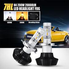 H4 / 9003 / HB2 200W CREE LED Headlights Kit 6500K / 3000K Bulbs Fog Light 4X4WD