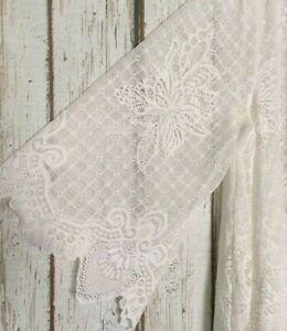 XL-1X-2X-3X-New-White-Ivory-Long-Floral-Lace-Swing-Cut-Topper-Cardigan-Kimono