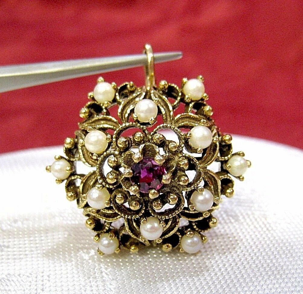 ANTIQUE 14K YELLOW gold FILIGREE AMETHYST AND PEARL BROOCH PIN PENDANT VINTAGE