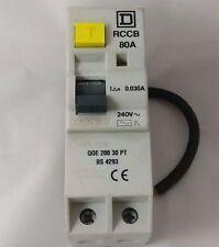 Square D QOE20030 PT 80A Amp 30mA RCCB RCD Tipo QoE interruptor de circuito bipolar de doble