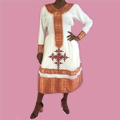 Abito Etiope, Tradizionale Habesa Vestiti, Ricamato, Corto-