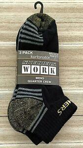 Details about Skechers Work Mens BLACK MULTI Quarter Crew Socks 3 Pack NEW Sock Size:10 13