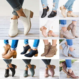 21e9f59c96a Details about Women Ankle Boots Chunky Mid Block Heel Summer Casual Booties  Sandals Shoes Size