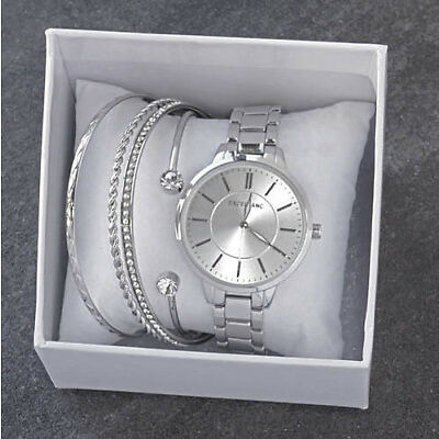 Excellanc Damen Armband Uhr mit Geschenk Set Armreif Gold silber Perlen NEU