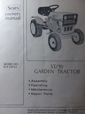 Sears ST 10 Lawn Garden Tractor Owner Parts Manual Hp HH100 Tecumseh EBay