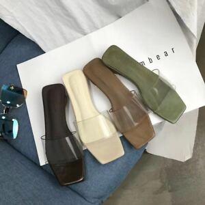531f3c0c302 Details about Womens Chic Clear Open Toe Mules Mid Cuban Heels Square Toe  Slipper Slide Sandal