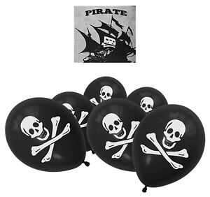 10-Skull-Pirate-Black-Balloons-Latex-Helium-Halloween-Birthday-Party-Decorations