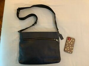Like-New-Condition-Coach-Pebbled-Leather-SAM-Crossbody-Sling-Bag-DARK-NAVY