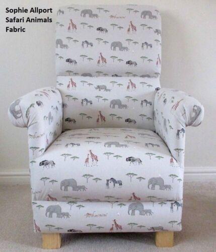 Sophie Allport Safari Animals Adult Chair Grey Armchair Elephant Wildebeest Hogs