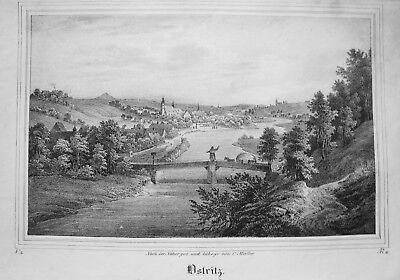 Ostritz Oberlausitz Sachsen Alte Lithographie Aus Saxonia 1835-1841