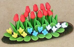 1:12 Scale Red Tulips In A Ceramic Trough Tumdee Dolls House Flower Garden Pot