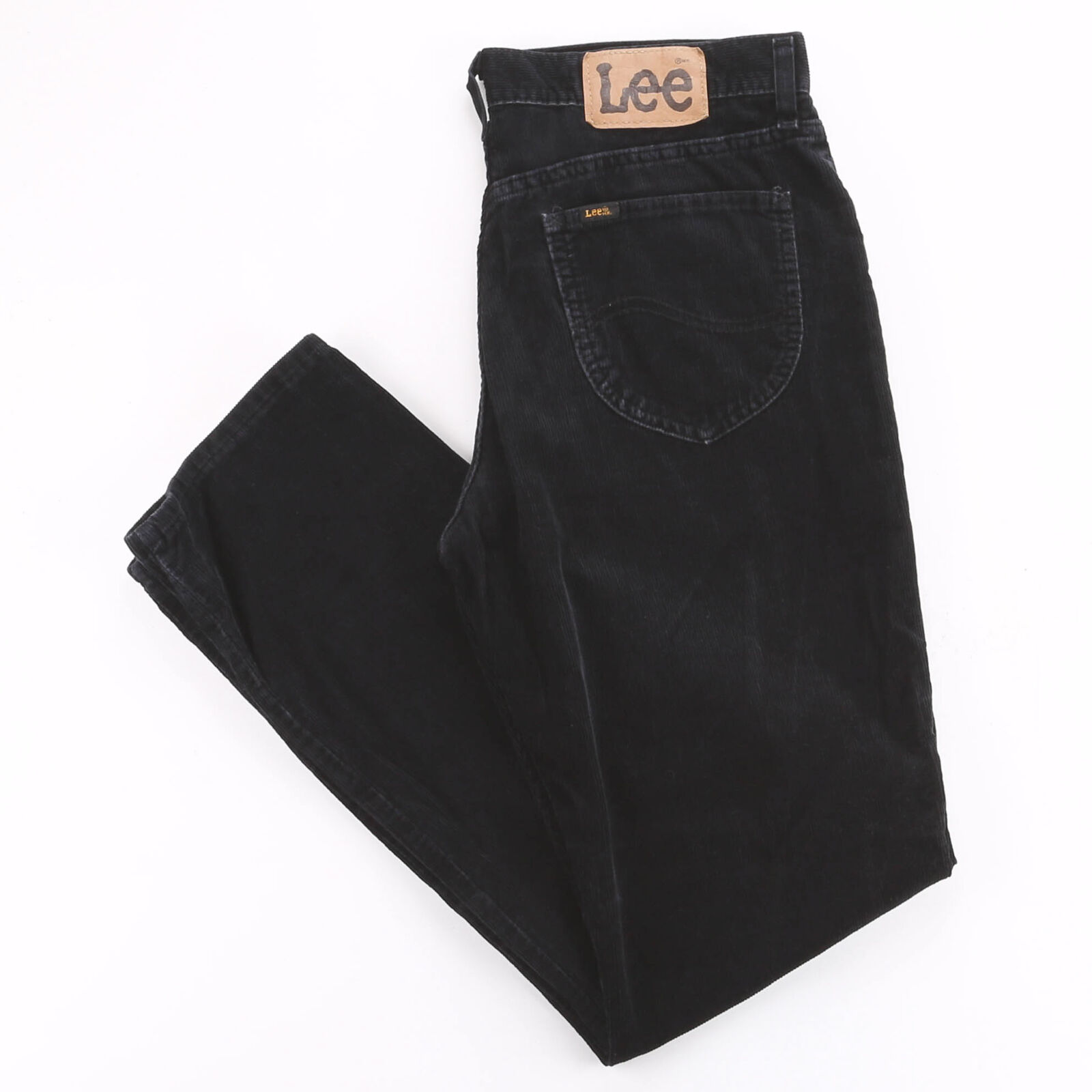Vintage LEE Black Corduroy Relaxed Straight Trousers Mens W33 L32