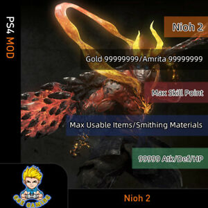 Nioh-2-PS4-Mod-Max-Gold-Skill-Points-Items-Materials-Attack-Def-HP