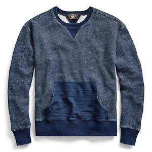 RRL Ralph Lauren Indigo Dyed Cotton Sweatshirt V-insets NWT Medium