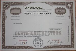 SPECIMEN-Stock-Certificate-039-Vesely-Co-039-Apache-Pop-Up-Camping-Camper-Trailers
