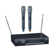 DEUX 2 MICROS MICRO MAIN MICROPHONE SANS FIL VHF 2 CANAUX AVEC RECEPTEUR