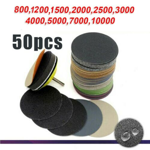 50pcs Kit 3 Inch Wet Dry Sandpaper Hook Loop Round Sanding Discs Abrasive Pads