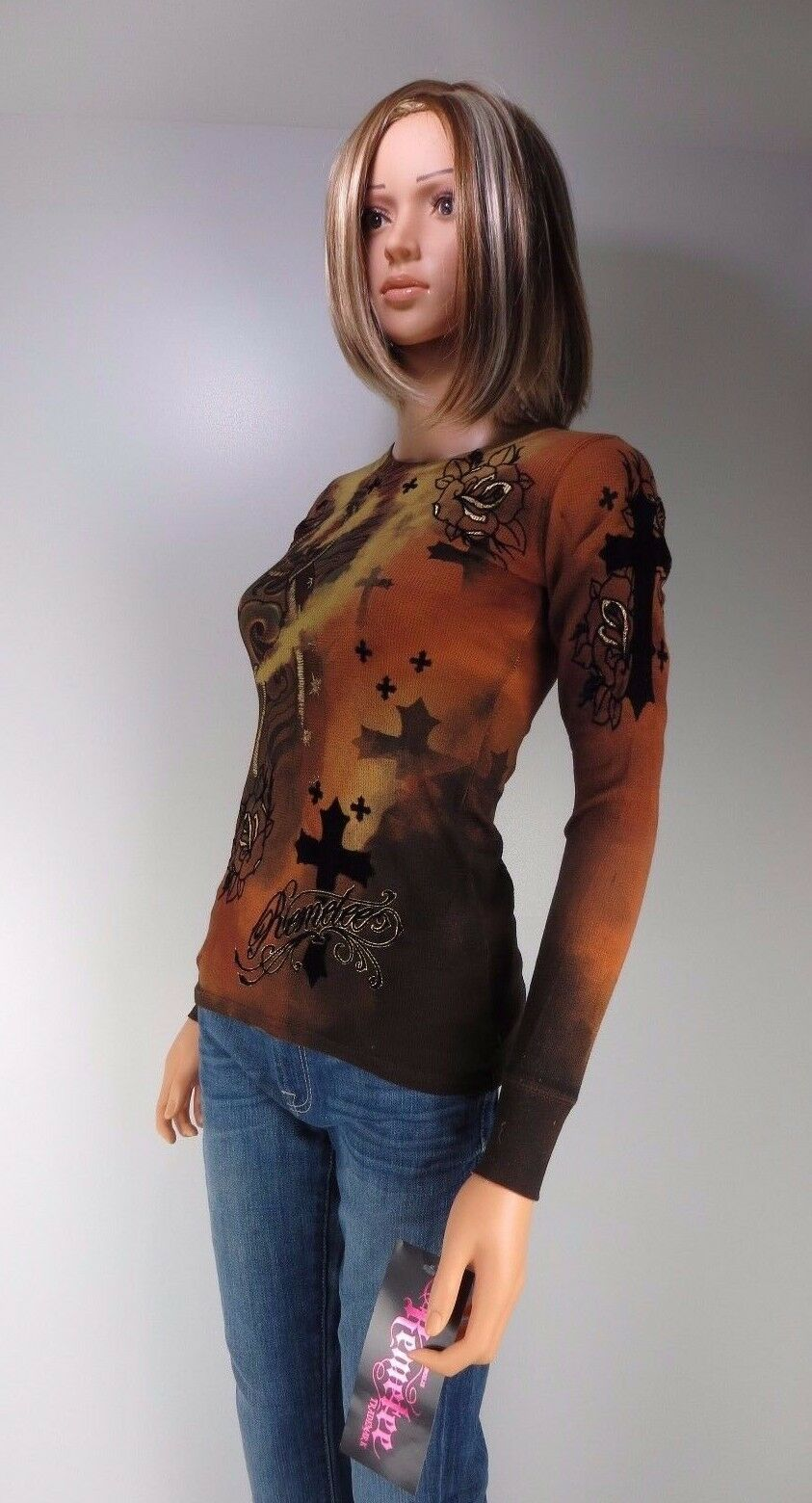 NWT Remetee Thermal Graphic tee Burnt Orng S