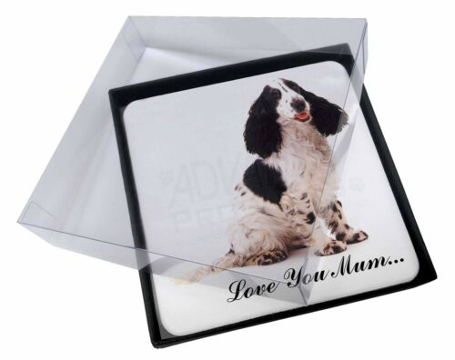 4x Black White Spaniel 'Love You Mum' Picture Table Coasters Set in, ADSC11lymC