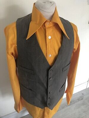 Di Carattere Dolce Vintage Anni'70 Retrò Marrone Gessato Mod Dapper Gilet Vest Medium-mostra Il Titolo Originale