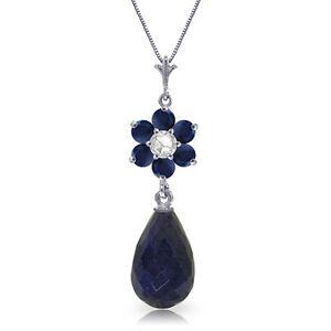 Genuine-Blue-Sapphire-Gemstones-amp-Diamond-Flower-Pendant-Necklace-14K-Solid-Gold