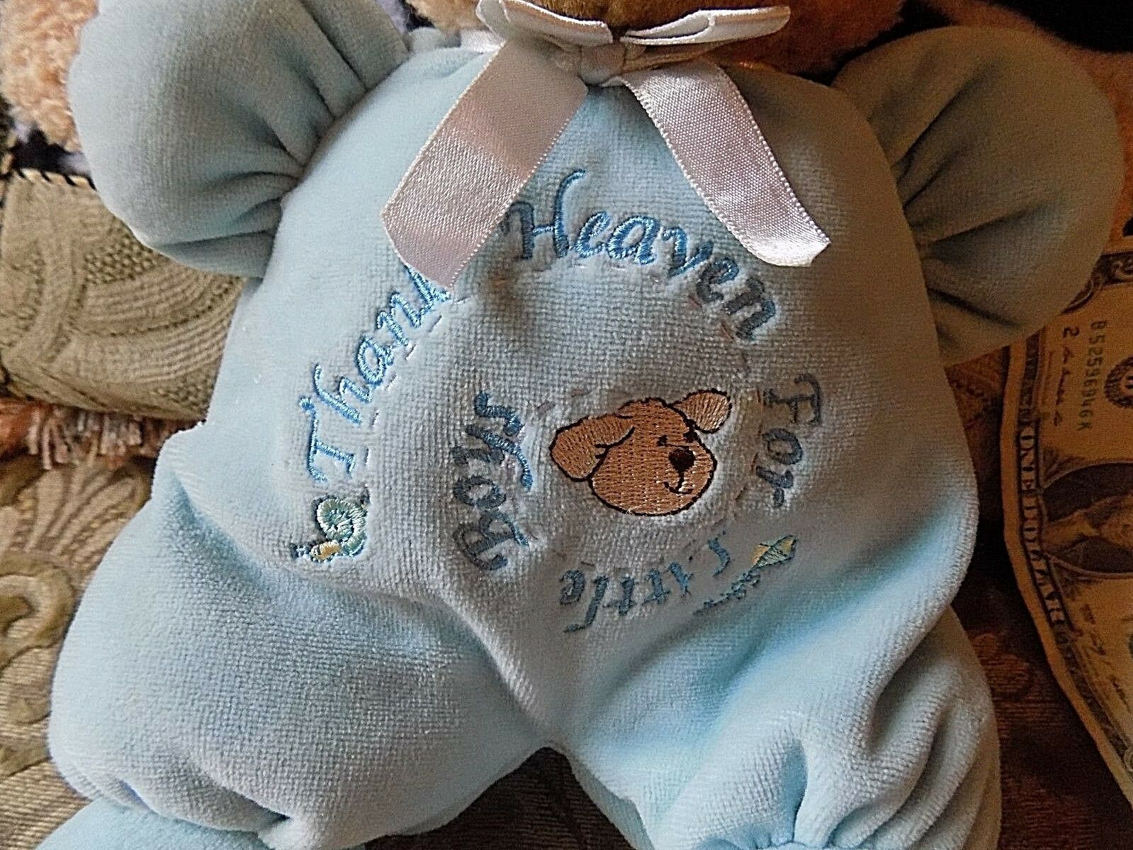 VINTAGE PRESTIGE BABY Marrone TEDDY BEAR STUFFED ANIMAL PLUSH TOY blu