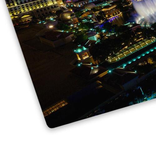 Colourful Las Vegas Skyline Glass Chopping Board Kitchen Worktop Saver Protector