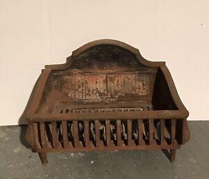Antique Fleur De Lis Cast Iron, Antique Victorian Cast Iron Fireplace Grate