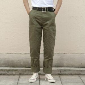 Herringbone-Twill-Military-Trousers-Retro-70s-Men-039-s-Army-Pants-HBT-Green-Regular