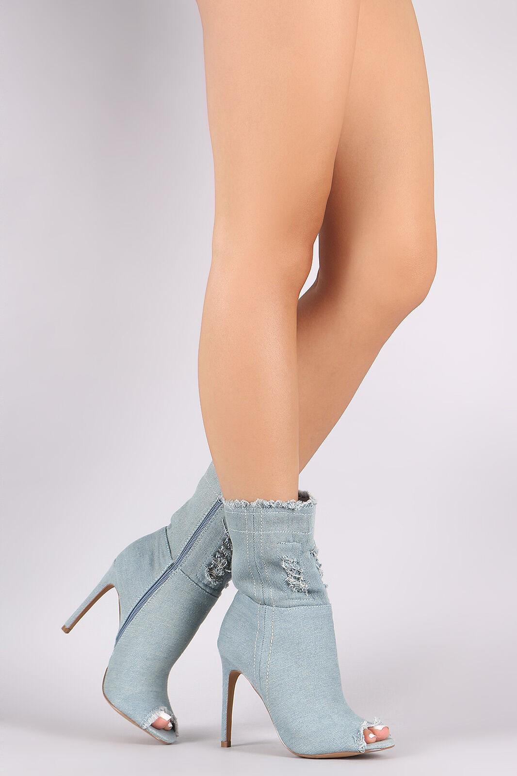 Tela vaquera envejecida Abierta Peep Toe Zapatos De Tacón Botines botas al tobillo-Azul claro-tamaño 5.5