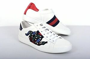 Image is loading GUCCI-950-Authentic-New-White-Leather-Snake-Embroidered- ef011461dae
