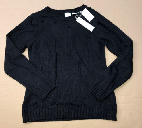 Sz Large Sweater Distressed Degree Celsius Nwt Zero Black Y4x77w