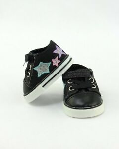 Black-Super-Star-Sneakers-Shoes-fits-American-Girl-18-inch-Doll-Clothes