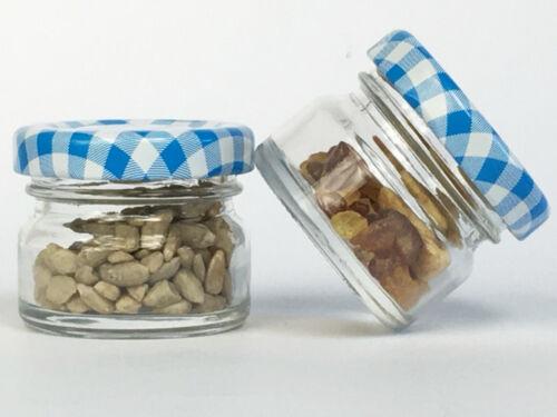50 Sturzgläser 30 ml Marmeladengläser Einmachgläser Einweckgläser Blau Kariert