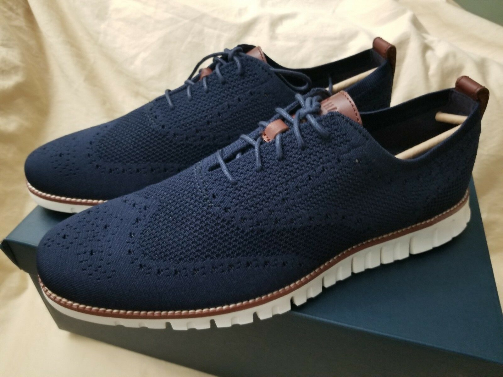 Cole Haan zerogrand stitchlite  oxford in marine blue and ivory Uomo size 13