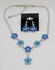 WHIMSICAL FLOWER CHARMS NECKLACE & EARRING SET - ENAMEL - BLUE/TURQUOISE COLOR