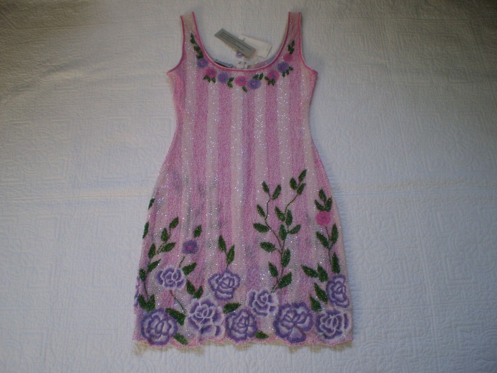 NWT MADE IN ITALY PALACE PINK MULTI SHEER SHEER SHEER BEADED FLORAL SLEEVELESS MINI DRESS M a8ab35