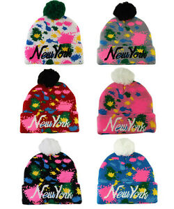 New-York-NY-SPLASH-COLORI-STAMPA-DA-INFILARE-CON-PON-BERRETTO-CAPPELLO-UNISEX