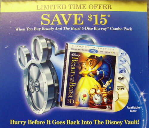 Disney Beauty and the Beast Com 4 x 6 Litograpgh with $15.00 Off Coupon on Back