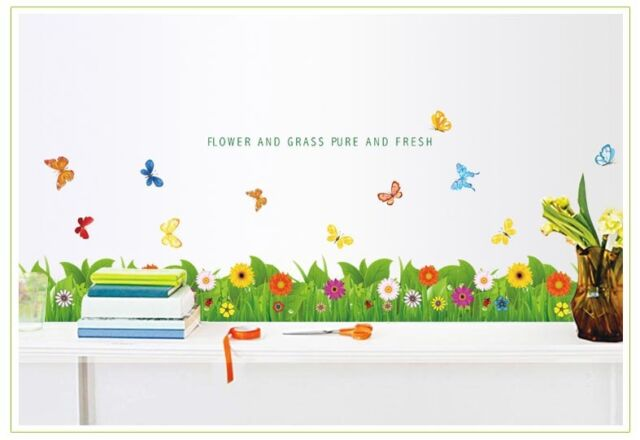 Green Grass Colourful Flowers and Butterflies Wall Stickers Removable Wall ART