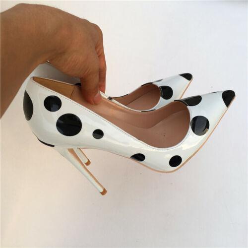 HIGH HEEL PUMPS pointed patent black white polka dot stiletto sizes UK1-10